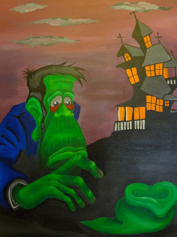 By Brush on Canvas bord. 45.5cm x 61cm