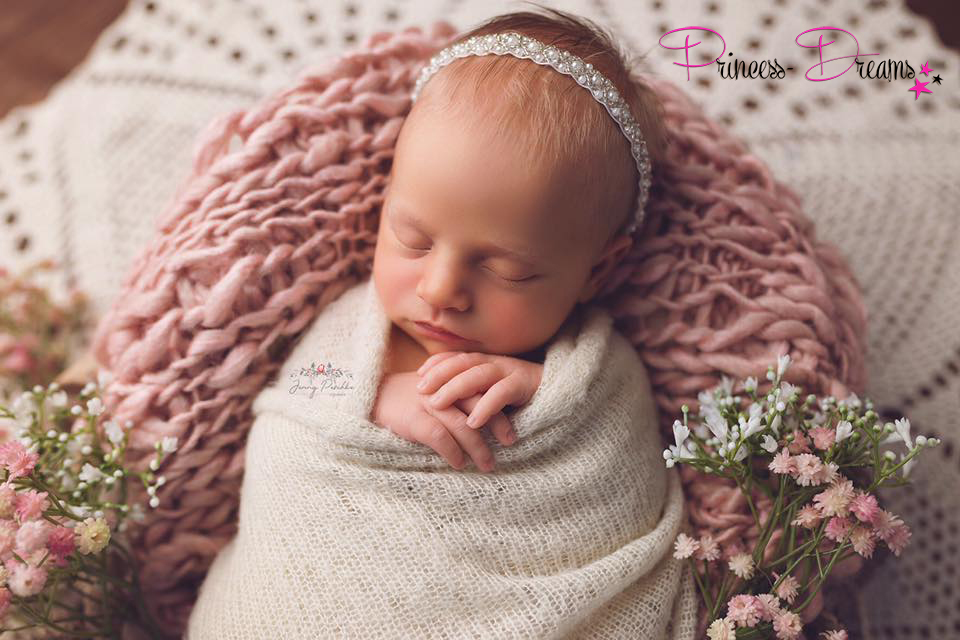 wunderschönes Neugeborenen Baby Mädchen Perlen Haarband Taufe Hochzeit Fotografie