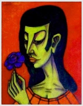 Mädchen mit blauer Blume    47 x 60
