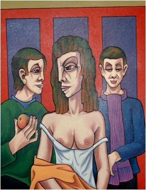 Halbakt und zwei Männer  1999    75 x 100