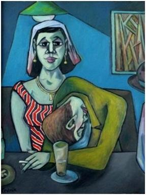 Paar in der Kneipe  2007  70 x 100