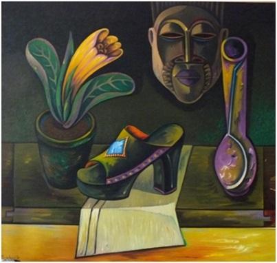 Stillleben mit Holzschuh und afrikanischer Maske  1979  89 x 84