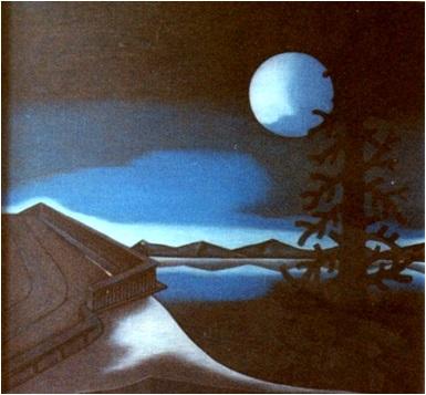 Blaue Landschaft mit Mond  1980    103,5 x 98