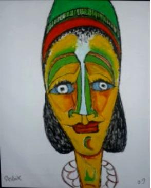 Frau mit Halskette  2009  75 x 100