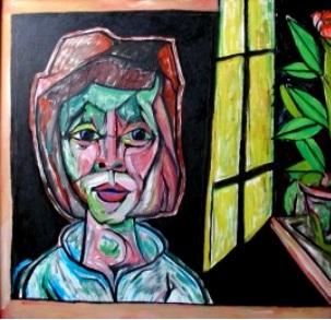 Frau am Fenster  2008  100 x 95