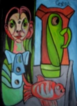 Junge Krug und Fisch  2010  75 x 100