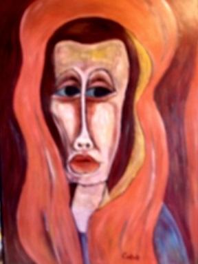 Frau mit Schleier  2008  75 x 100