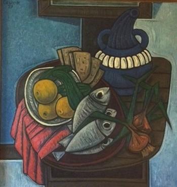 Stillleben mit Fischen  1957    78 x 80