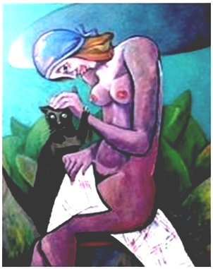 Frauenakt mit Katze  2008  75 x 100