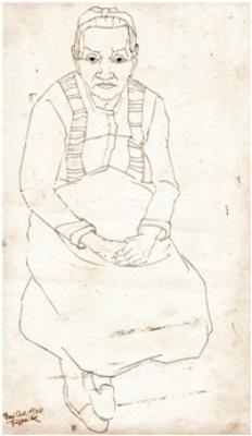 Frau Öl  1948  25 x 43 ( Sepia Tinte )