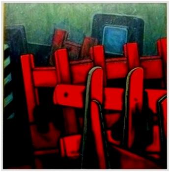 Rote Sitzreihen  1962    95 x 105