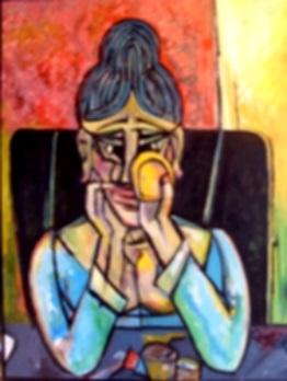 Frau mit Spiegel  2008  75 x 100
