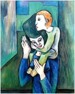 Mutter mit Kind auf Schulter  2006  75 x 100