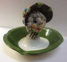Aschenbecher, Fasnachtsfigur, Alte Tante, Keramik