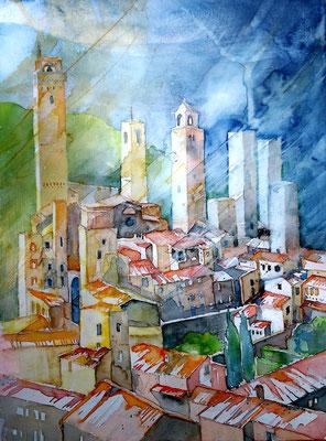 Toskana_San Gimignano_36x48 cm
