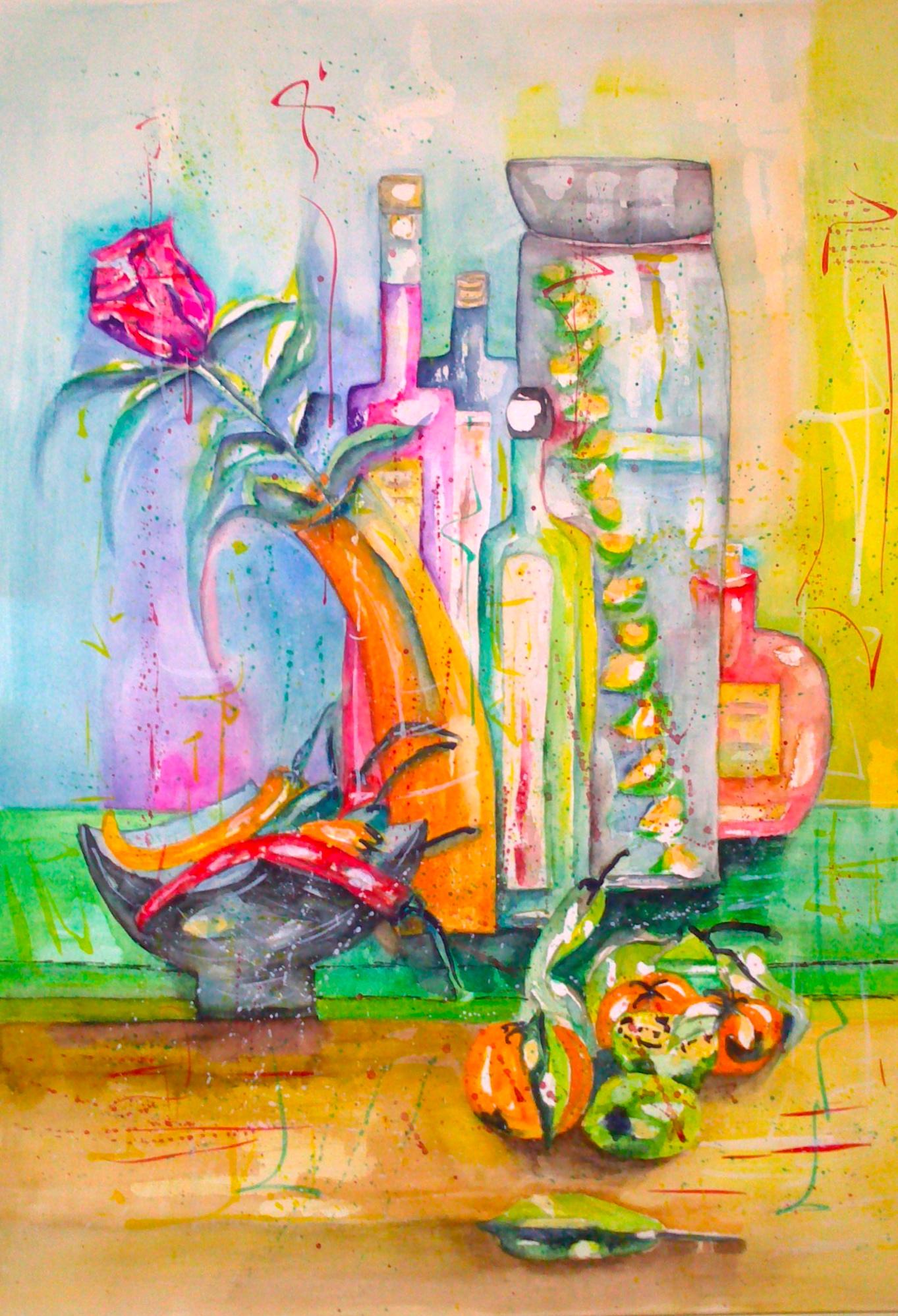Flaschen und Blumen Aquarell 50X65cm Bild Nr.1 Preis auf Anfrage