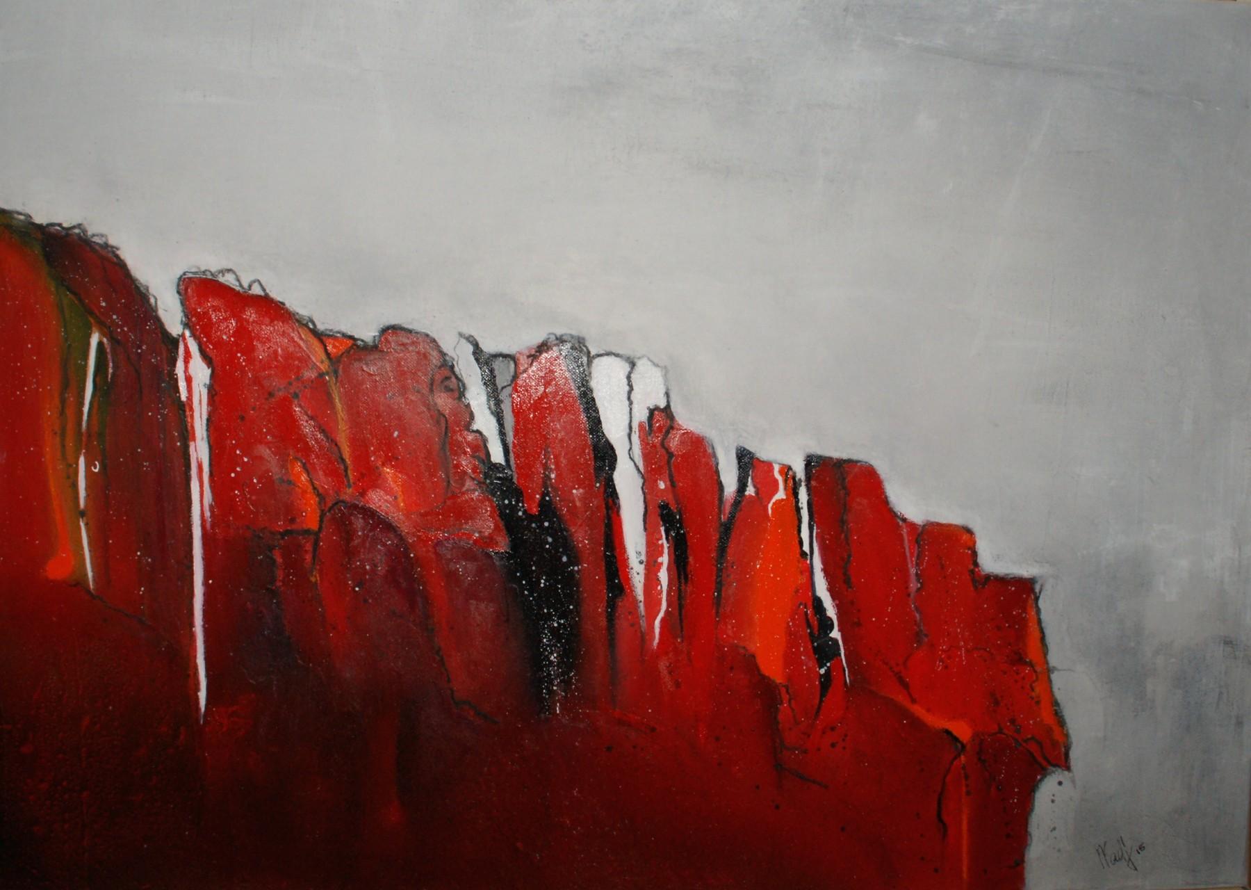 Kleiner Wasserfall 50X70X2cm Öl auf Acryl Bild Nr.90 verkauft