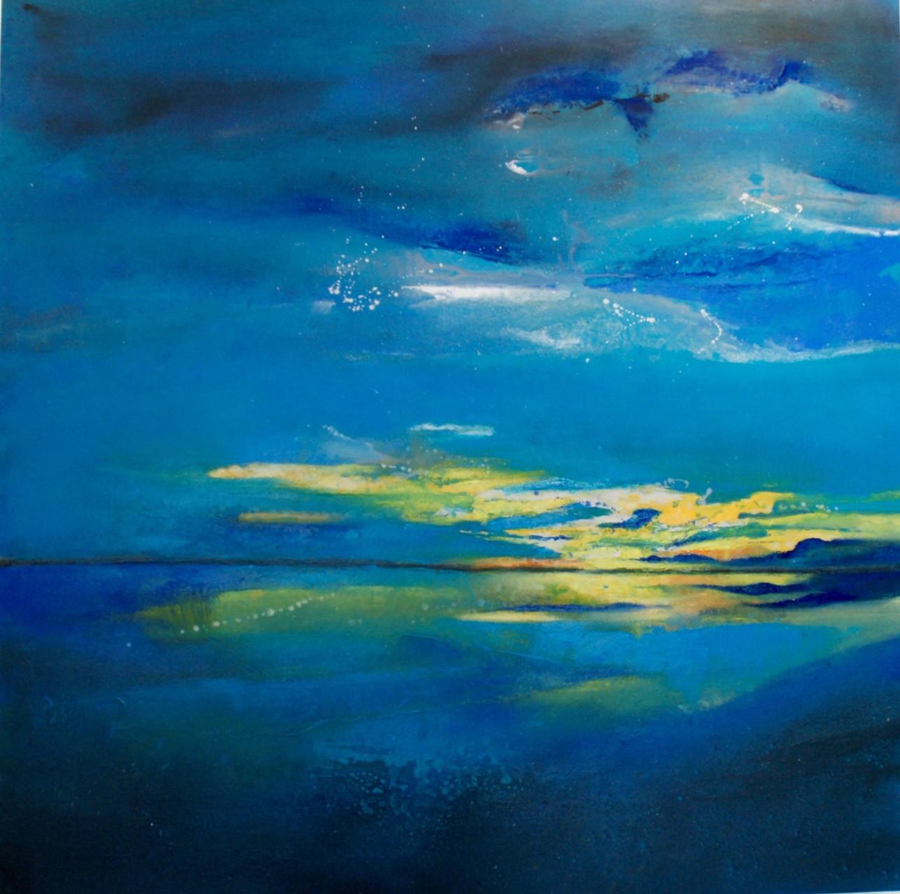 Sonnenuntergang 80X80X4cm Öl auf Acryl  Bild Nr.87   € 590