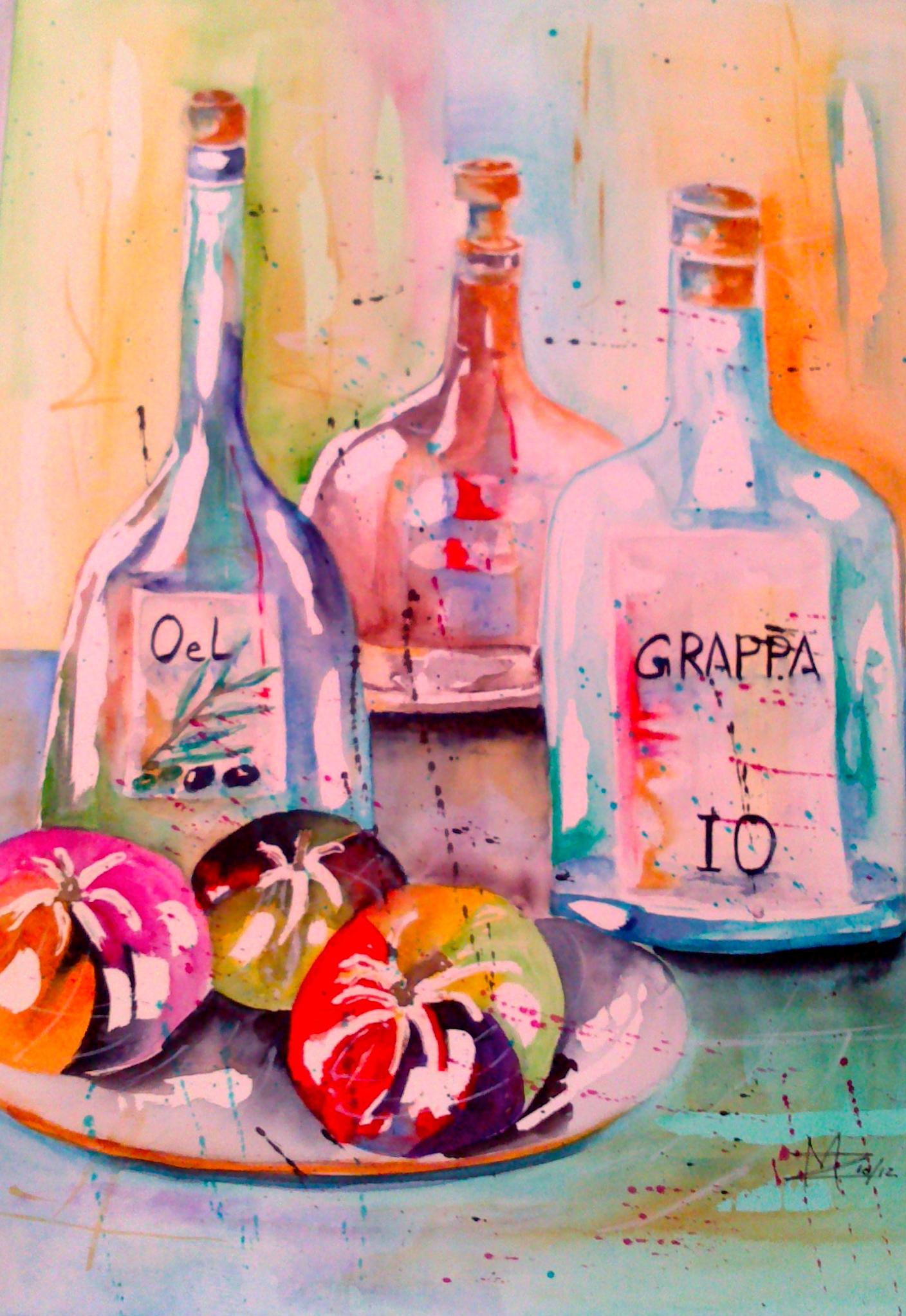 Bottles Aquarell 30X40cm Bild Nr.39 Preis auf Anfrage