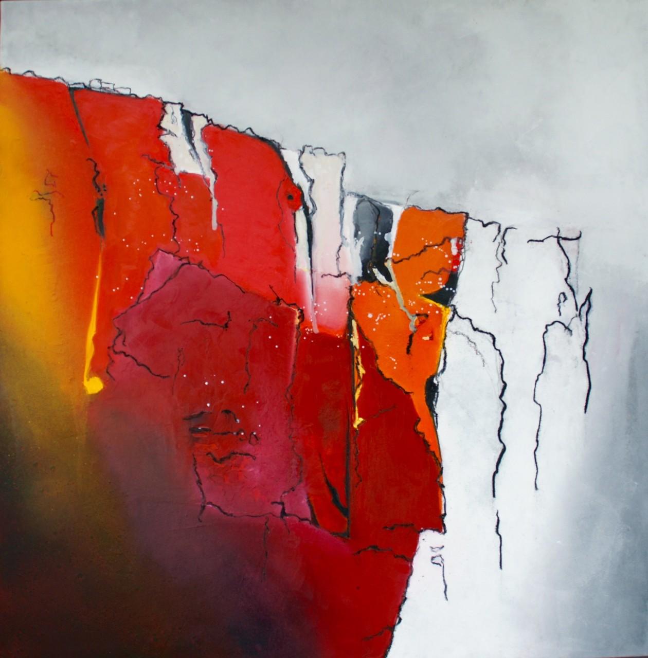 Wasserfall 80X80X4cm Öl auf Acryl Bild Nr.86   € 590