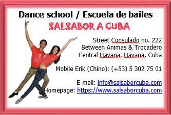 Bussines card of 'Salsabor a Cuba'