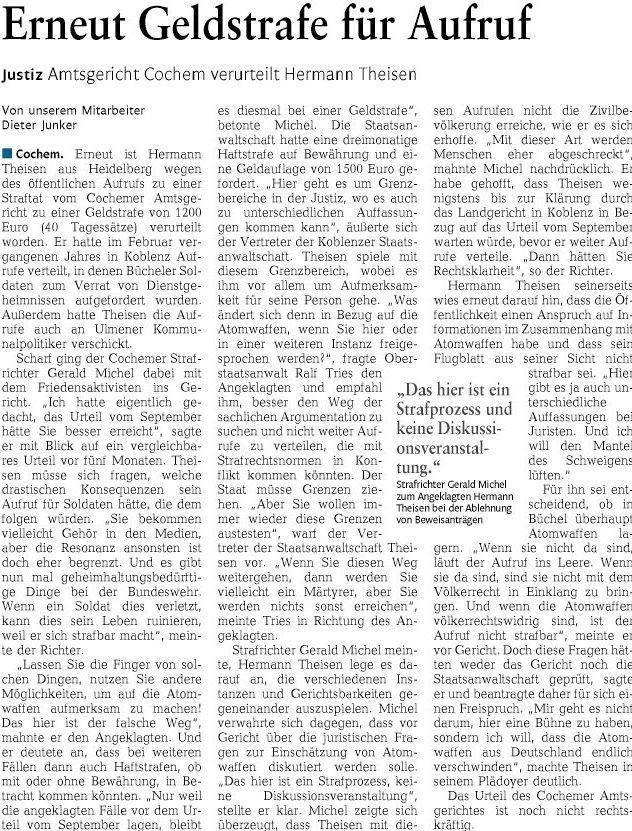 2016-03-09 RZ Mayen, Hermann Theissen, Erneut Geldstrafe für Aufruf, Amtsgericht Cochem