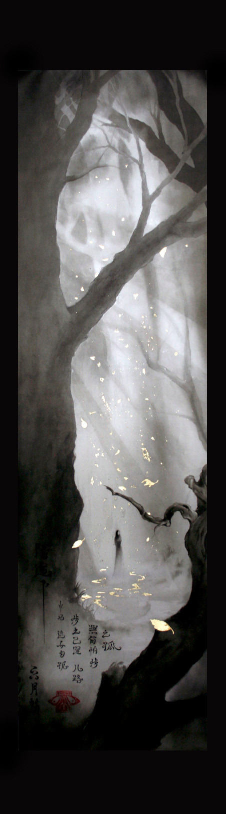 Lonesome Ghost - atmospheric fantasy paintings in watercolor & ink by sebastian rutkowski - moonlight-art - original asian silk scroll for sale