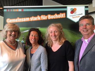 Jutta Ehlting, Andrea Unland, Agnes Wellkamp und Rainer Howestädt beim Strategietag in Bocholt (v.l.) (Foto: Engagierte Stadt)