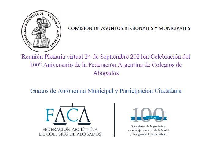 """Panel: """"Grados de autonomía municipal y participación ciudadana"""" en la reunión plenaria virtual en celebración del 100° Aniversario de la FACA"""