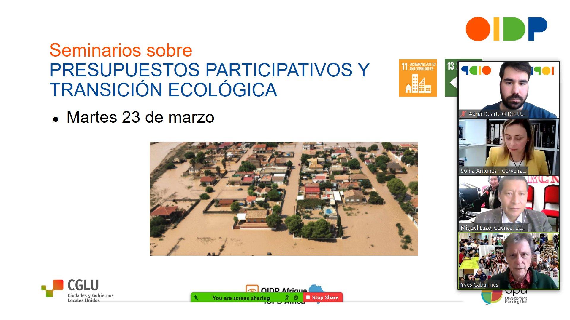 """Seminario internacional """"Contribuciones de los presupuestos participativos a la adaptación y mitigación del cambio climático"""" del OIDP"""