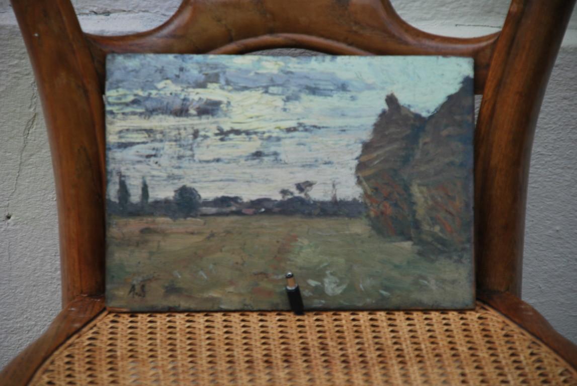 25x17 : huile sur bois : meules de foin : Coll. Part