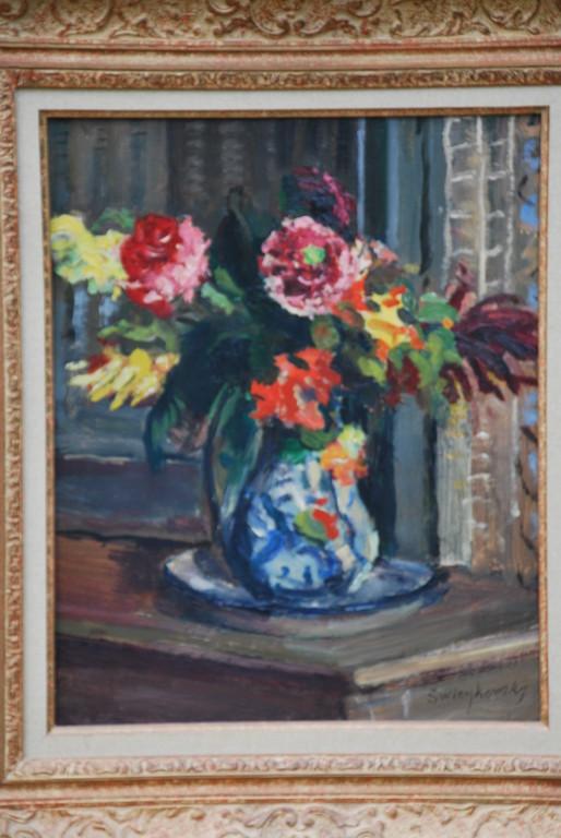 32x39 : huile sur isorel : bouquet de dahlias: Coll. Part