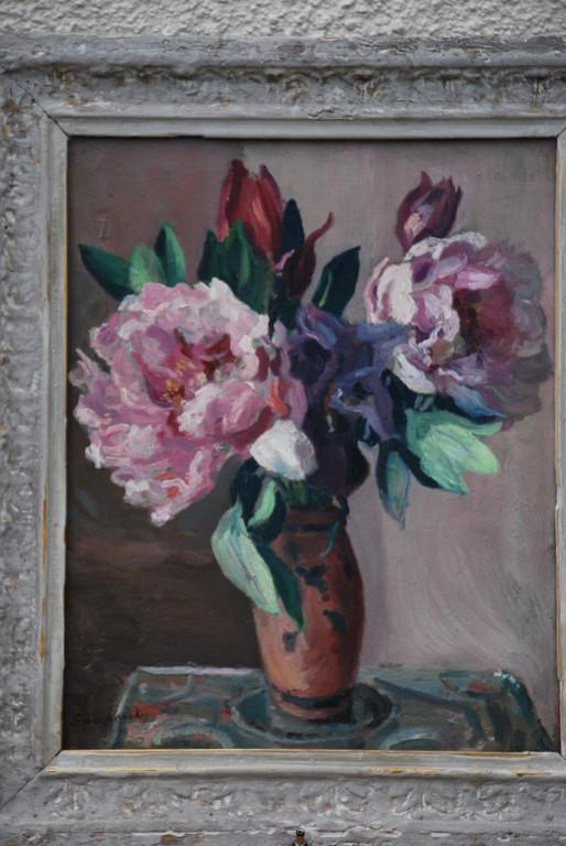 32x40 : huile sur isorel : bouquet de pivoines : Coll. Part