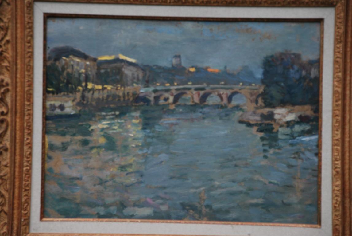 40x30 : huile sur isorel : la Seine au Pont Neuf : Coll. Part