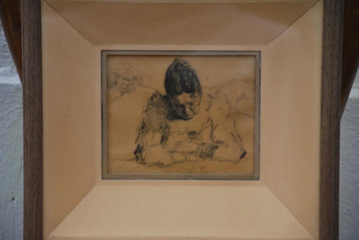 16x12 : Crayon sur papier : mère du peintre assoupie : Coll. Part