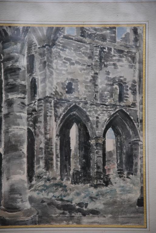 24x32 : aquarelle : étude de ruines gothiques (2): Coll. Part