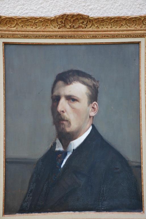 48x60 : huile sur toile : autoportrait  de l'artiste Coll. Part