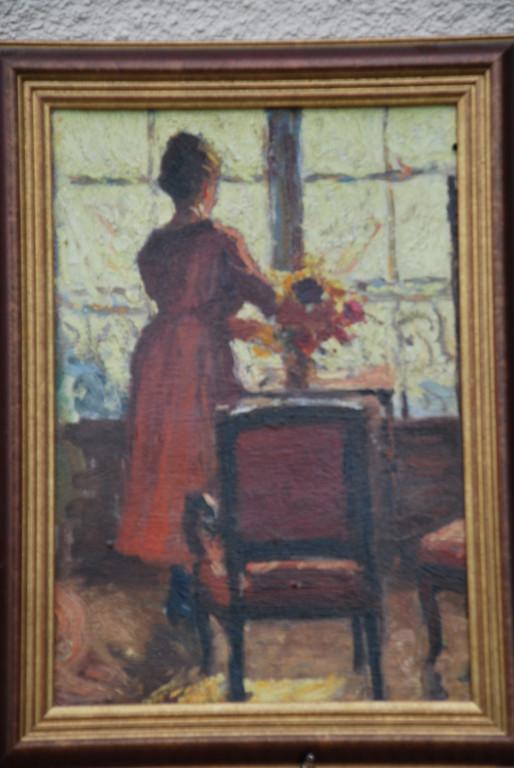27x39 : huile sur isorel : l' italienne au bouquet de fleurs : Coll.Part