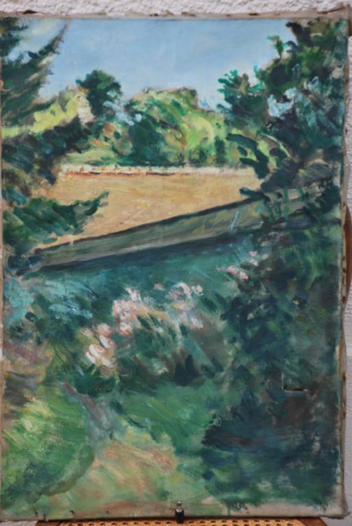 38x55 : huile sur toile : jardin de la Ferrière : Coll. Part