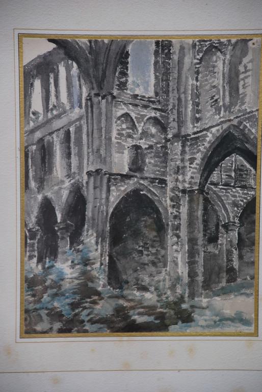 23x30 : aquarelle : étude de ruines gothiques  (1): Coll. Part