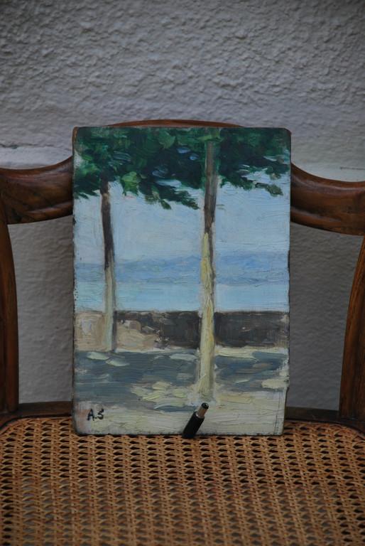 15x22 : huile sur bois : brume sur le Léman: Coll. Part
