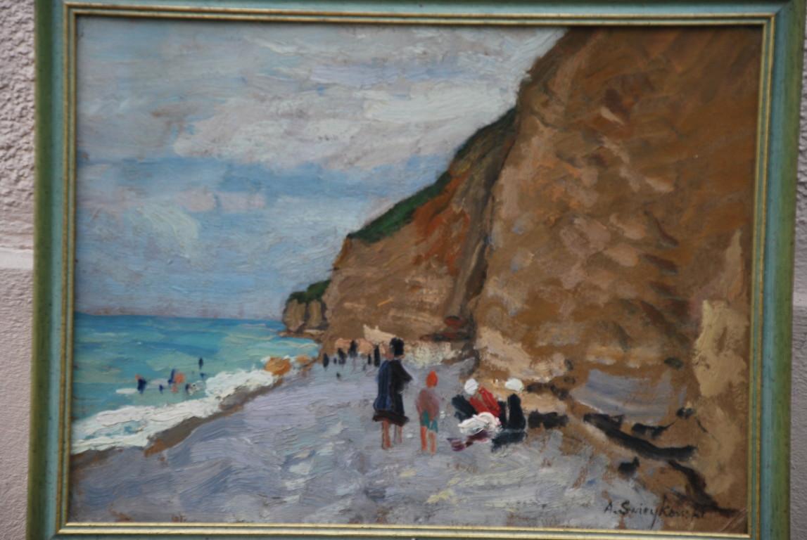43x32 : huile sur isorel : falaises de Port-en-Bessin : Coll. Part