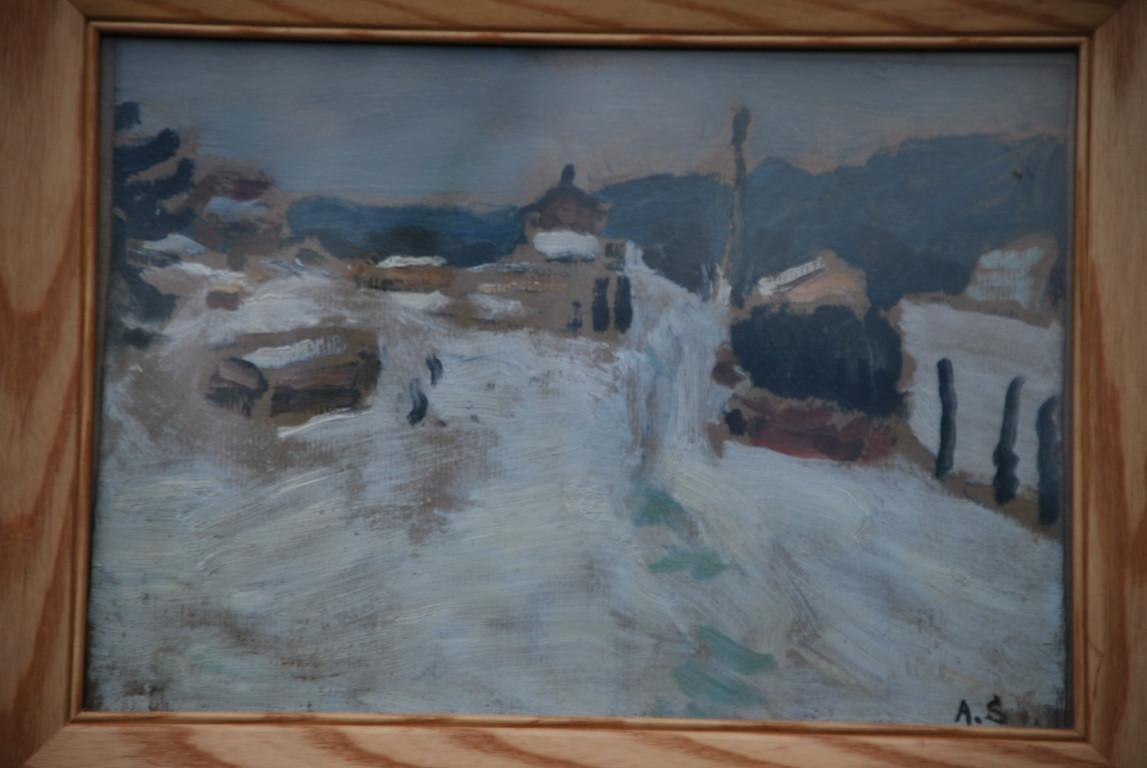33x23 : huile sur isorel : maisons de montagne sous la neige : Coll. Part