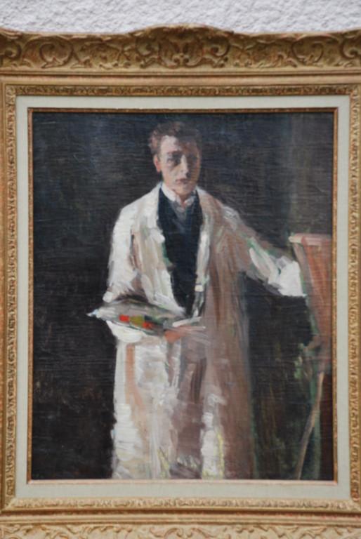 45x36 : huile sur toile : autoportrait de l'artiste, jeune homme : Coll. Part