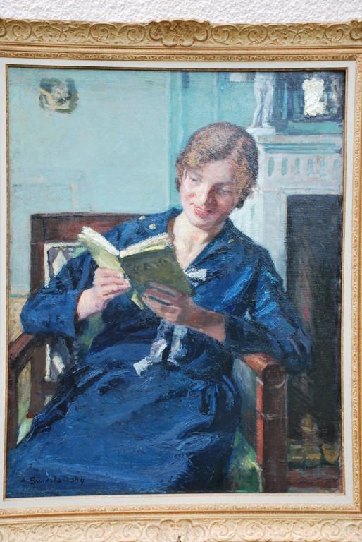 72x91 : huile sur toile : Alexandrine à la lecture : Coll. Part