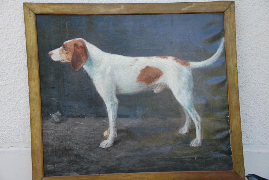 102x87 : huile sur toile : Zouzou , le chien du peintre Coll. Part