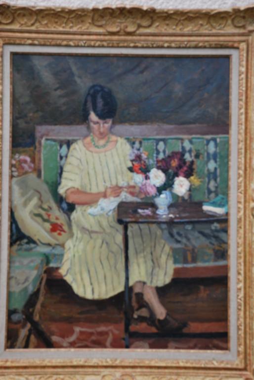60x45 : huile sur toile: Madame Swieykowski au crochet Coll.Part