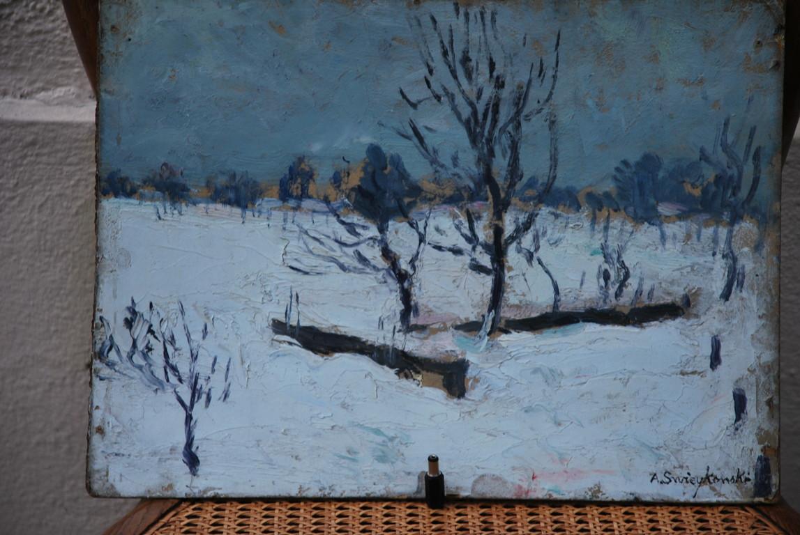35x26 : huile sur isorel : arbrisseaux sous la neige : Coll. Part