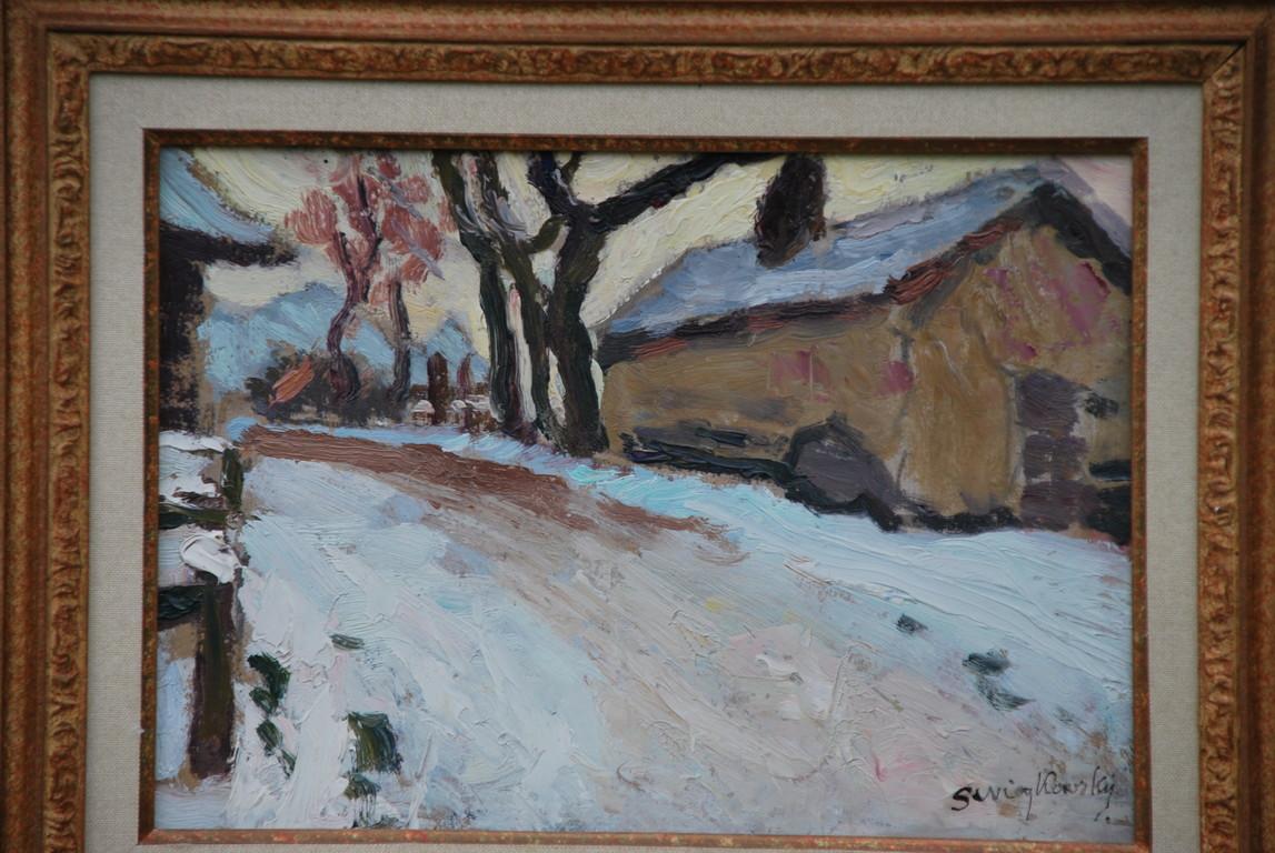 30x21 : huile sur isorel : le four de Chez Thiollay sous la neige: Coll. Part
