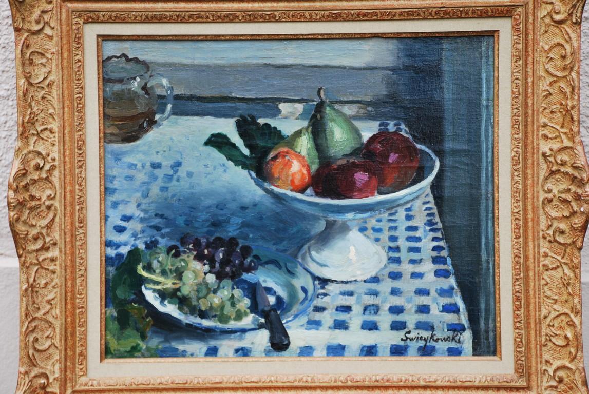 45x36 : huile sur toile : nature morte à la coupe de fruits:  Coll .Part